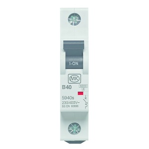 Sentry 1-Pole 40A Curve-B Miniature Circuit Breaker 6kA 17.5 x 83 x 73mm