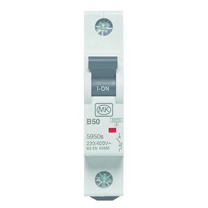 Sentry 1-Pole 50A Curve-B Miniature Circuit Breaker 6kA 17.5 x 83 x 73mm